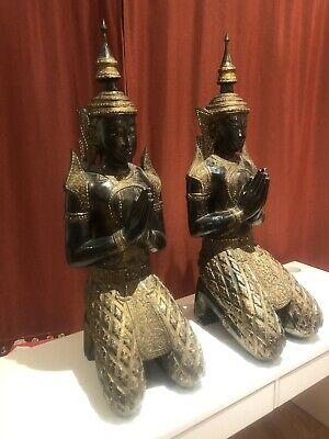 Thailand Doll Traditional Thai Welcome Statue Carved Wood Siamese Figurine 15/""
