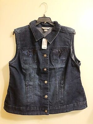 Christopher & Banks Dark Blue Denim Sparkle Vest Womens Size L - New In Bag!  - Dark Sparkle