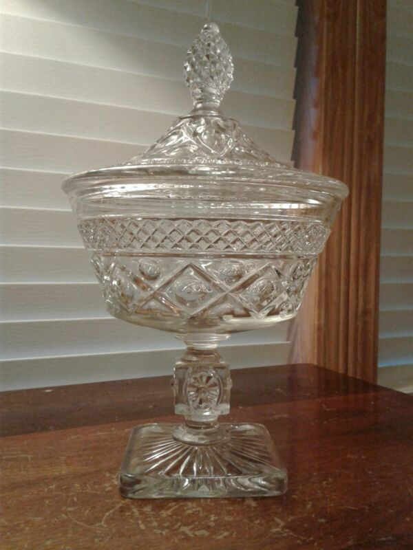 """Vtg Imperial Glass Cape Cod Pattern Clear Footed Candy Dish With Lid 10"""" Tall"""