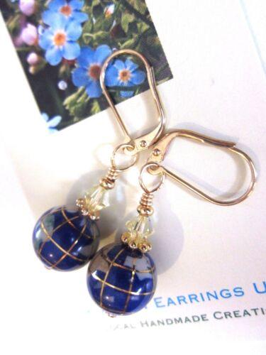 EARRINGS Artisan Handmade USA Drop World Globe Travel Gold LVRBK Blue Lapis
