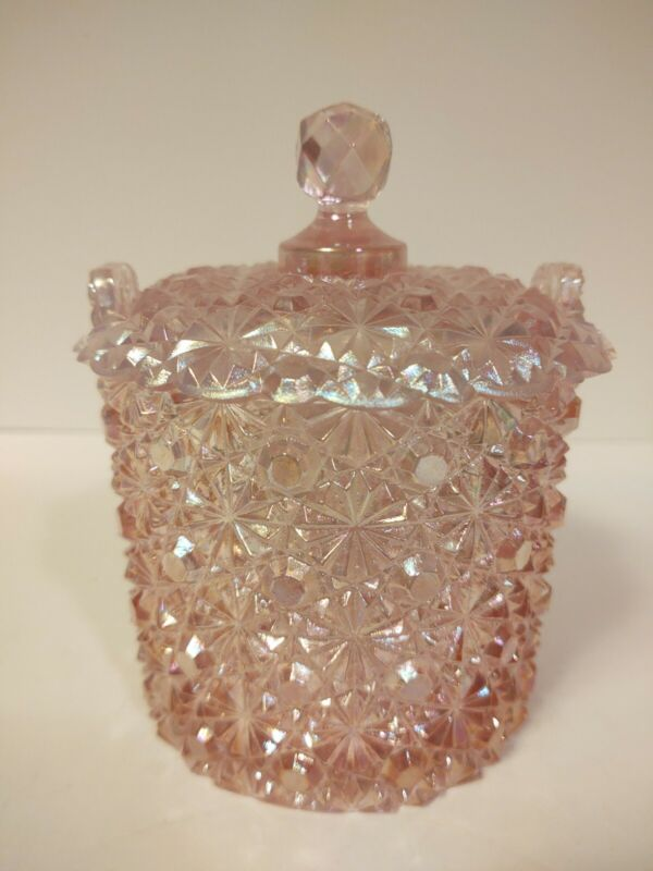Vintage Fenton Pink Daisy & Button Art Glass Ice Bucket Covered Candy Dish