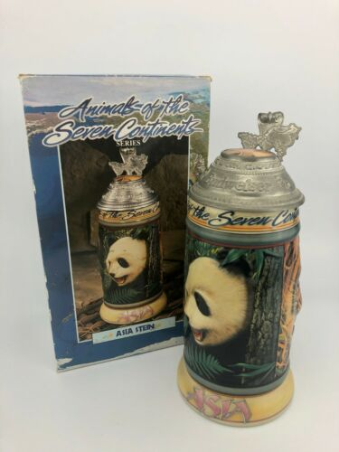 Budweiser 1998 Animals of the Seven Continents Asia Lidded Beer Stein CS349