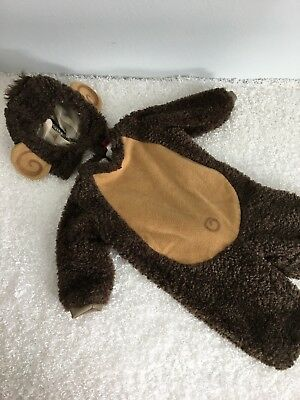 InCharacter Costumes Monkey Halloween Costume M 18M Brown Plush Bodysuit Hood - 18m Halloween Costumes