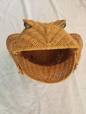 Vintage Wicker Frog Basket With Marble Eyes