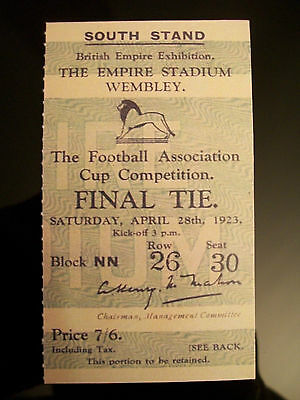 1923 F.A. Cup Final Ticket Bolton Wanderers v West Ham United mint condition.