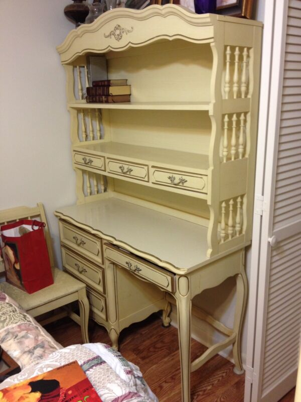 Vintage Henry Link French Provincial Desk With Hutch And Chair