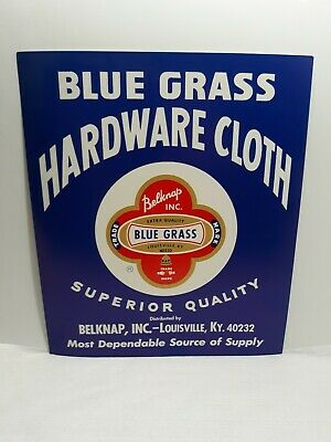 Vintage Blue Grass Hardware Cloth Paper Sign Belknap Louisville KY Store (Bluegrass Store)
