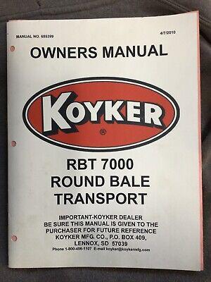 Koyker Rbt 700 Round Bale Transport Owners Manual