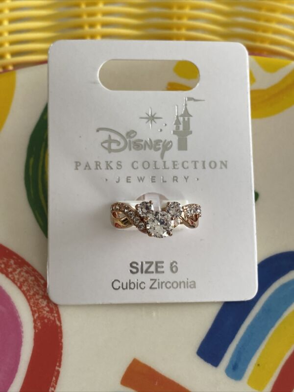 Disney Parks Mickey Icon Rose Gold Tone Cubic Zirconia Ring  Size 6