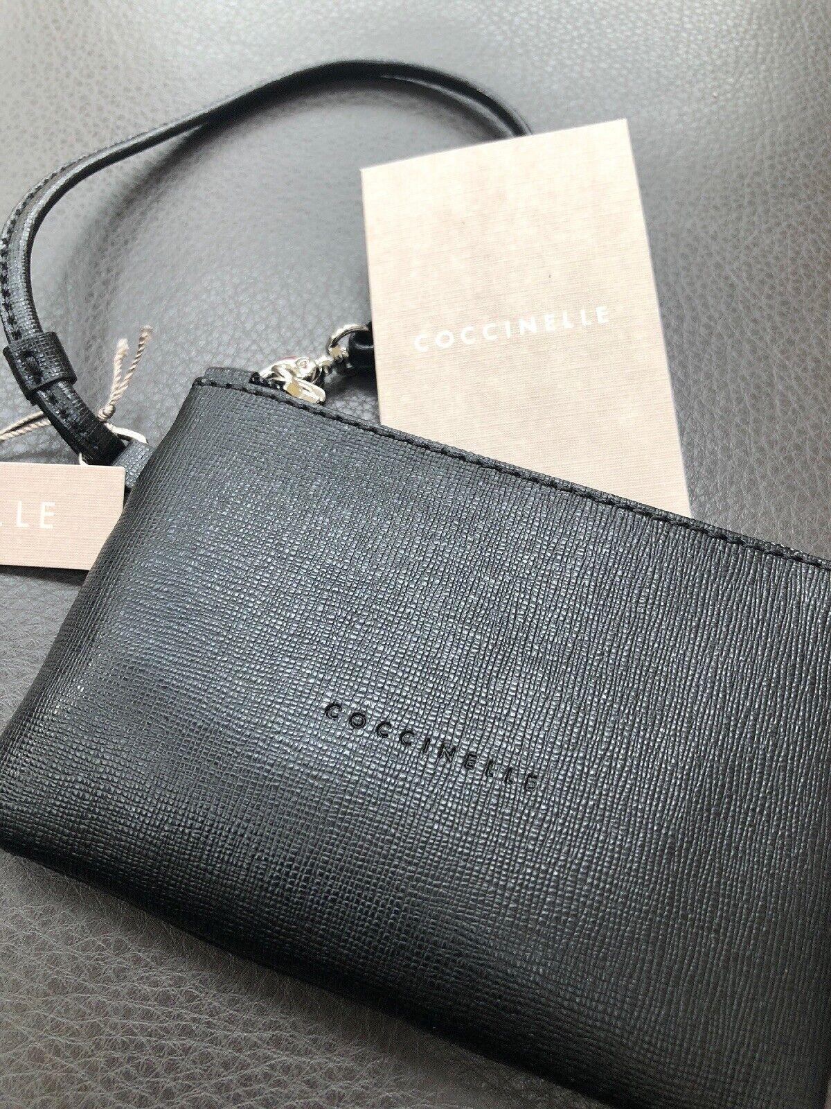 COCCINELLE Neue Clutch 100 % Leder Schwarz Kosmetiktasche Geldbörse Damentasche