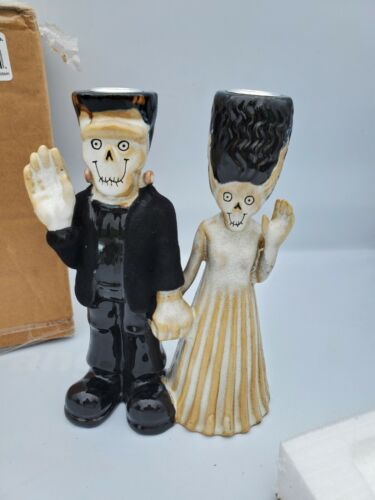 Yankee Candle Boney Bunch Frankenstein and Bride 2013 Candle Holder Mint