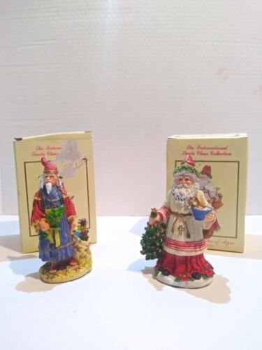 Lot of 2 Vintage International Santa Clause Collection Figurines