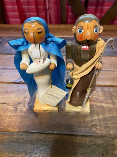 Nutcracker Mary and Joseph limited edition hand numbered 2009 wooden 8 inch