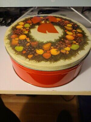 Vintage Fruit Christmas Tin Metal