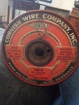 Vintage Cornish Wire Cloth Radio Electric Spool 182 Twisted Cotton