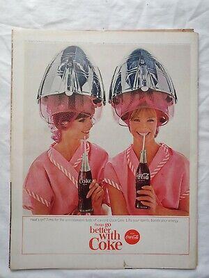 1965 Vintage Coke Coca Cola Soda Magazine Ad Pink Laidies Under Hair Dryers
