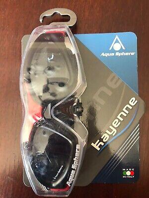 Aqua Sphere Kayenne Goggle Smoke Lens Black/Red Anti-fog Goggles Small Fit