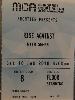 1x GA Ticket: Rise Against, Melbourne 10th Feb 2018