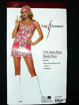 sexy LEG AVENUE go go GIRL hippie CHICK austin POWERS retro PEACE daisy COSTUME