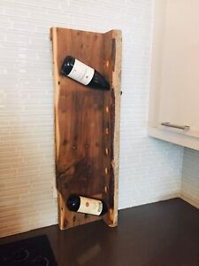 VINTAGE LIVE EDGE WINE RACK RECLAIMED WOOD BOTTLE DISPLAY STAND