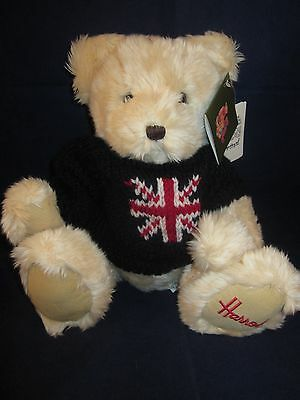 """HARRODS Bear 14"""" Blond Bear wearing Blue British Flag Sweater ~ NEW with Tags"""