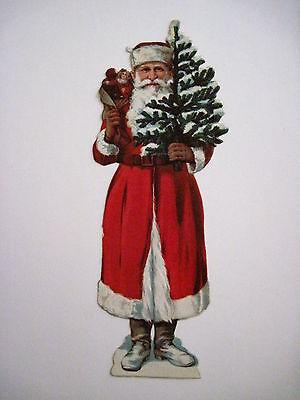 Antique Victorian Vintage Christmas Die-Cut of Santa & Tree In Red Suit *