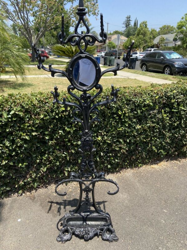 LARGE ANTIQUE 19th Century victorian WROUGHT CAST IRON HALL TREE COAT STAND ~