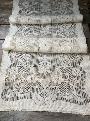 """Antique Lace Table Runner 46"""" Floral Cutter Crafts Repair"""