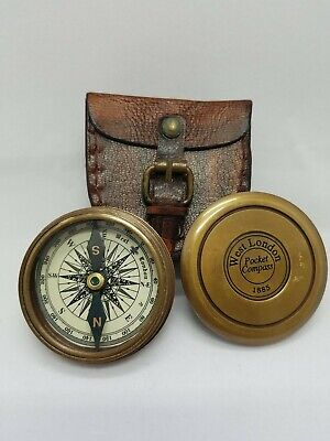 Stanley London Vintage Robert Frost Poem Brass Antique Compass with Wooden Case