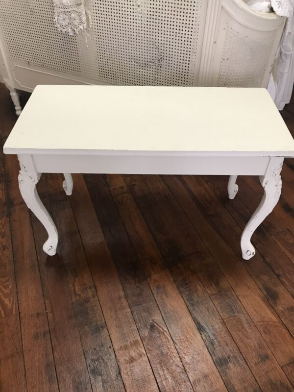 Antique Ivory Painted Piano Bench