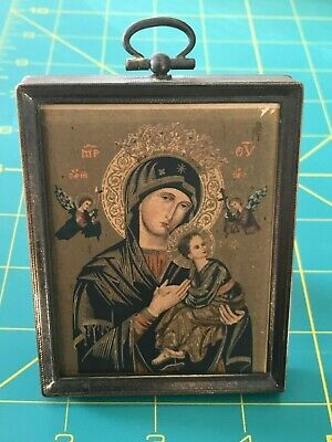 "Scharling Silversmith Framed Our Lady Of Perpetual Help Icon Miniature 4"" X 3"""
