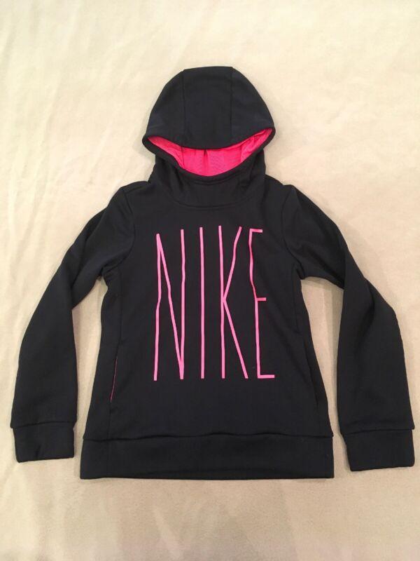 Nike Hoodie Pullover Medium Girls Black Pink Sweatshirt