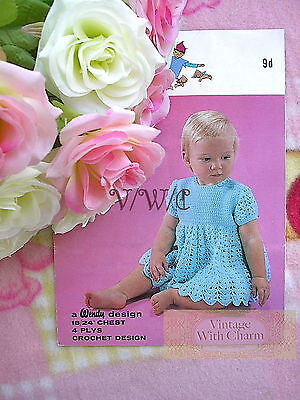 (Vintage Crochet Pattern Baby Girls Dress, To Fit 18-24 Inch Chest. FREE UK P&P)