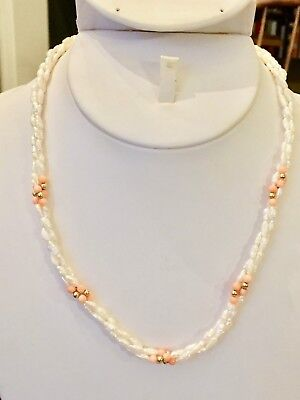 Freshwater Seed Pearls & Coral Necklace 16 1/2