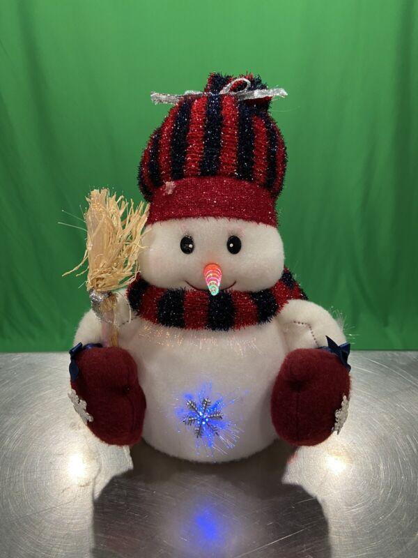 "Christmas Fiber Optic Color Changing Snowman 9"" Lighted Display Figure Works!"