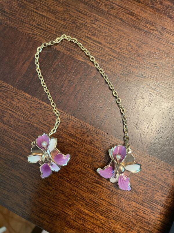 Vintage Gold Tone Purple Flower Enamel Pearl Sweater Guard Clip
