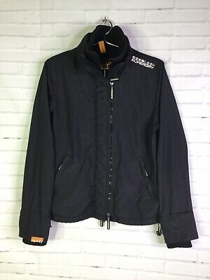 Superdry Womens Size L Windcheater Jacket Lightweight Black Thumb Holes Pockets