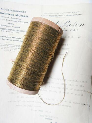 """4 yd Vintage Antique French Gold Metallic Round Thread Trim 1/32"""""""