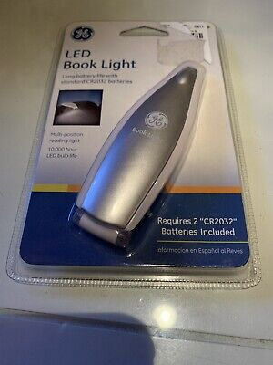 GE LED Book Light - Slim Battery Operated, Clip-on - Silver color.  New.