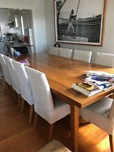 Solid oak bespoke made dining room table and 10 chairs Mosman Mosman Area Preview