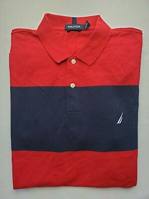 Nautica Red/Blue Striped Short-Sleeved Polo Shirt. Size L NWT