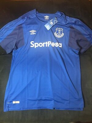 2017/2018 EVERTON HOME FOOTBALL Soccer SHIRT JERSEY XXL BLUE BNWT Umbro image