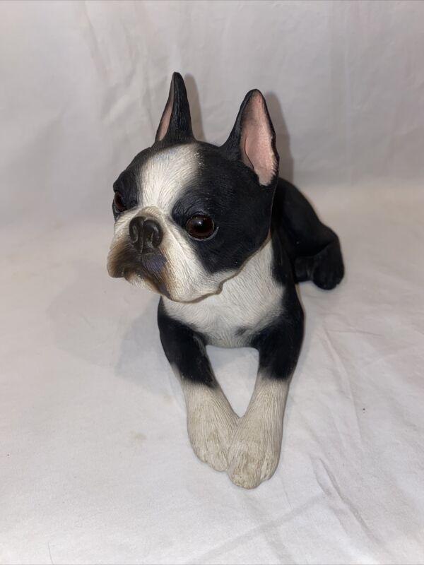 "Sandicast  Sculpture 1985 SIGNED Boston Terrier 9 1/2"" Long"