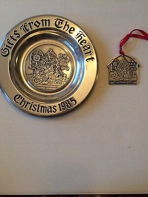(1985  Wilton Armetale Plate Christmas From The Heart  9/14 With Ornament Rare)