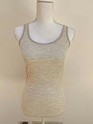 NWT Icebreaker Women's Fawn htr & Snow stripe siren tank top shirt Small Free sh