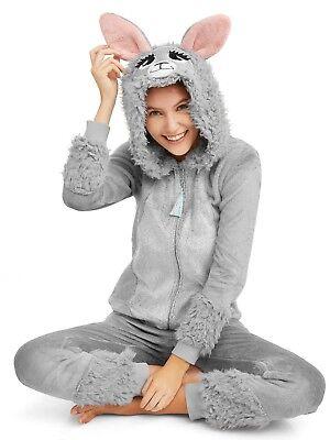 Neuer Frauen Einteiler Schlafanzug Lama Haube Union Anzug Halloween Kostüm S M L ()