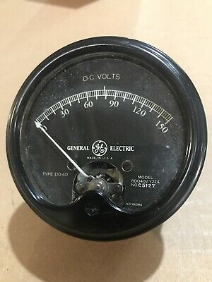 Vintage Round Ge Do-40 Dc 0-150 Volts Panel Meter