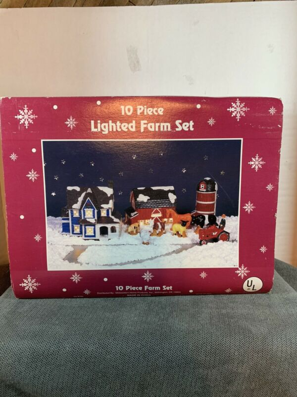 Vintage CHRISTMAS LIGHTED Farm 10 PC SET PORCELAIN Barn House Tractor Animals