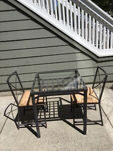 Free - Metal and Glass Dining and Two Chairs