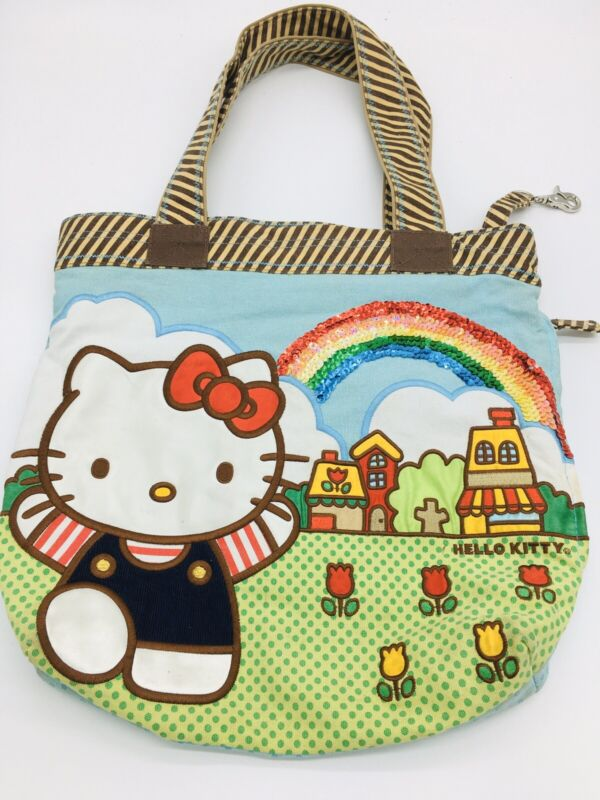 Rare 2007 Loungefly Sanrio Hello Kitty Tote Bag Rainbow Sequence